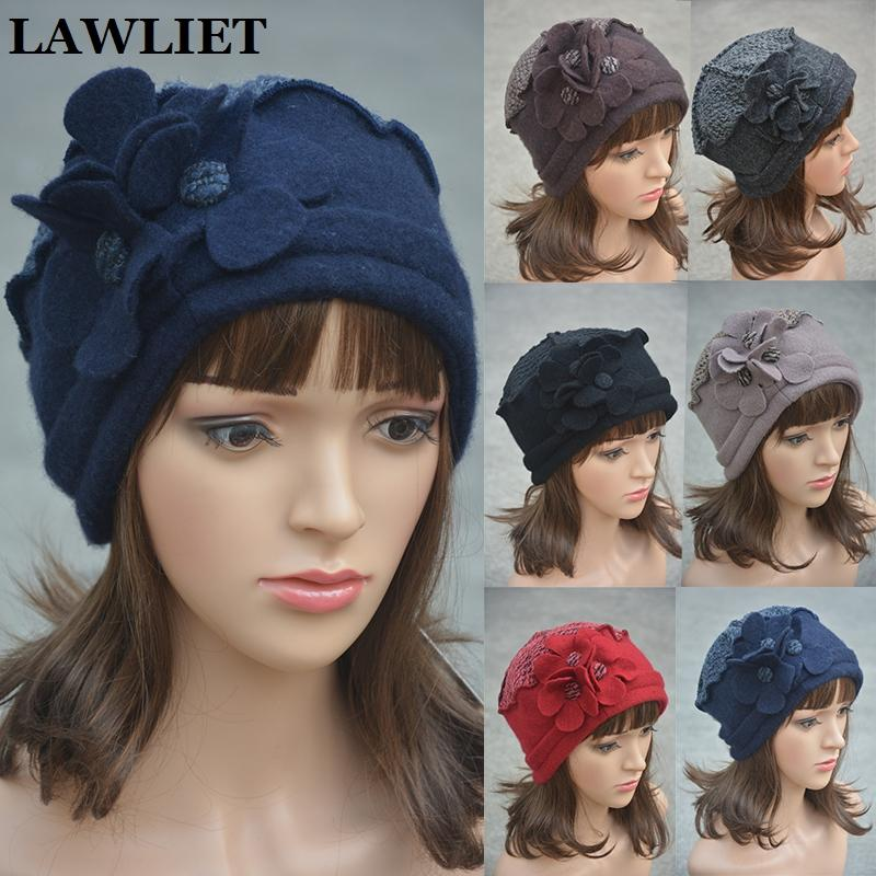 6724958e576 2019 Wholesale Flower Waves Trimmed Womens Wool Beanie Cap Dress Crochet  Winter Hat Ladies Warm Beret Hats Outdoor Snow Hats For Female A125 From ...