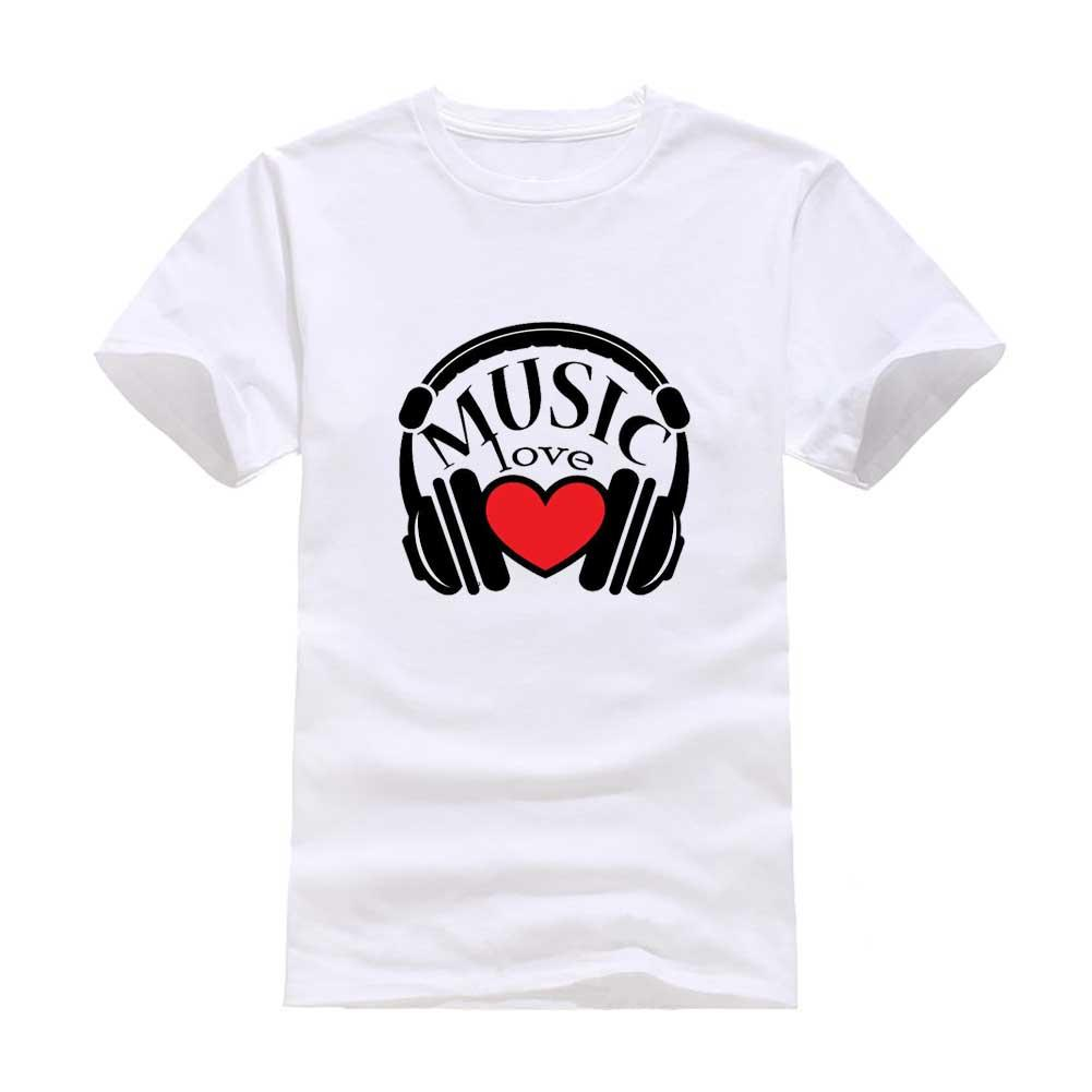 Music headphones 2017 New Clothes Fashion Man T-Shirt Cotton O Neck Short Sleeve Personalized unique Male Tops Tees Wholesale
