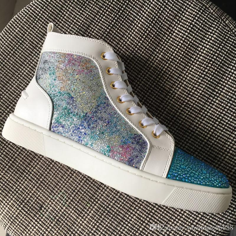 dd306741bc8 New Arrivals Men Women Glitter with White Leather Blue Rhinestones Toe High  Top Red Bottom Casual Shoes