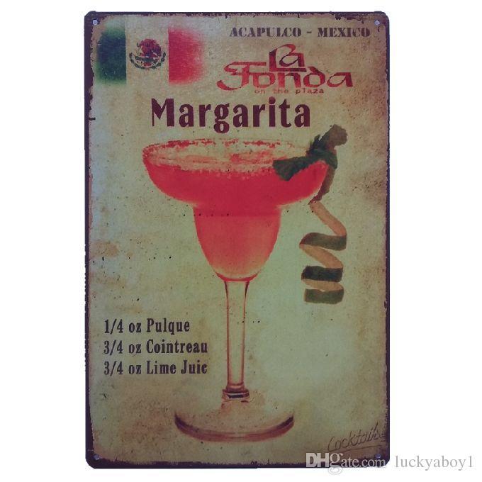 Authentic Recipe for a Margarita Vodka Juice Retro rustic tin metal sign Wall Decor Vintage Tin Poster Cafe Shop Bar home decor