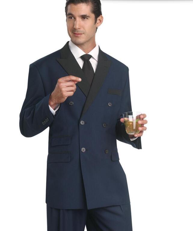 Yeni erkekler suits yakışıklı lacivert düğün Groomsmen takımları doruğa Yaka Smokin çift göğüslü balo takımları Ceket + Pantolon