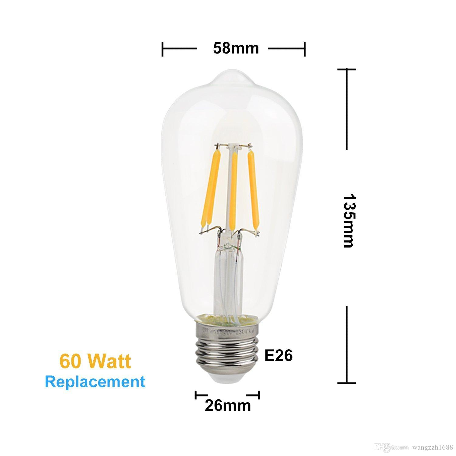 Meegan 4w Led Tungsten Light Bulb, 400lm, 40w Incandescent Equivalent,  220v, E27 E26 Base, 2700k Warm White, Clear Glass Cover Dimmable Led Bulbs  Gu10 Led ...