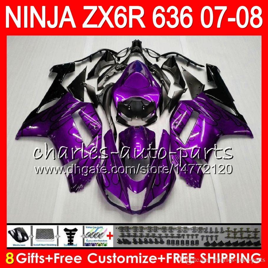 détaillant en ligne 02bb8 8c8be Bodywork For KAWASAKI NINJA ZX636 600CC ZX600 C ZX6R Purple black 07 08  26NO95 ZX 6R 07 08 ZX-636 ZX 600 ZX 636 ZX-6R 2007 2008 Fairing kit