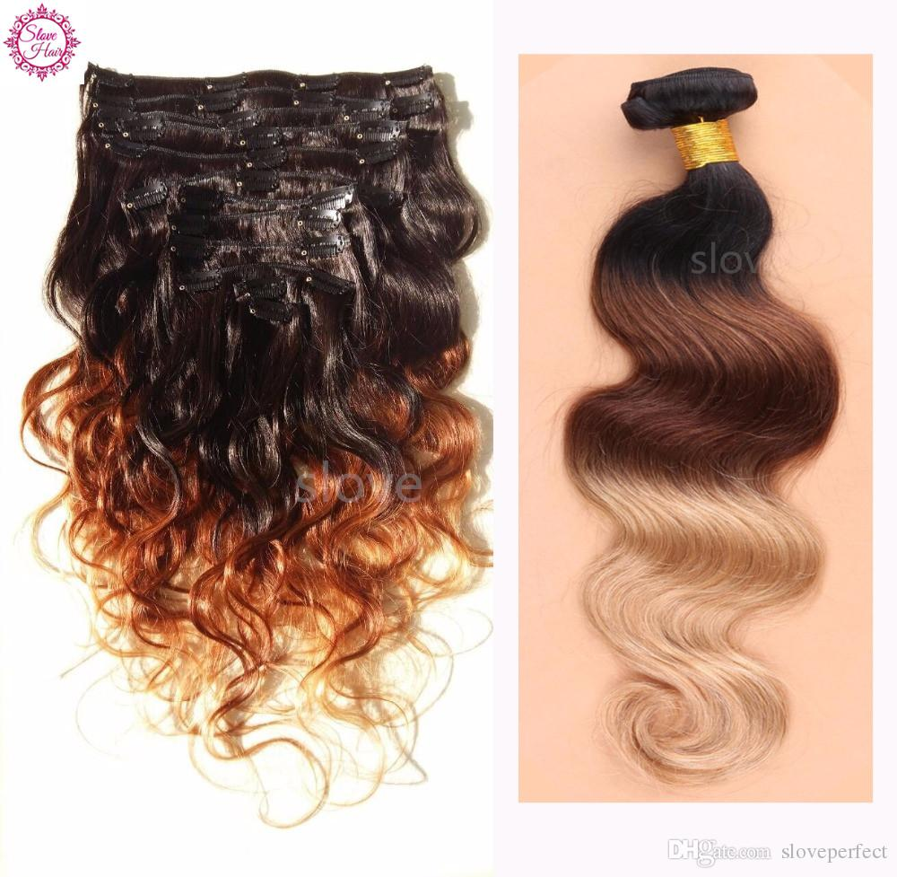 8a Dye Ombre Hair Weft Clip In Human Hair Extensions Curly Black To