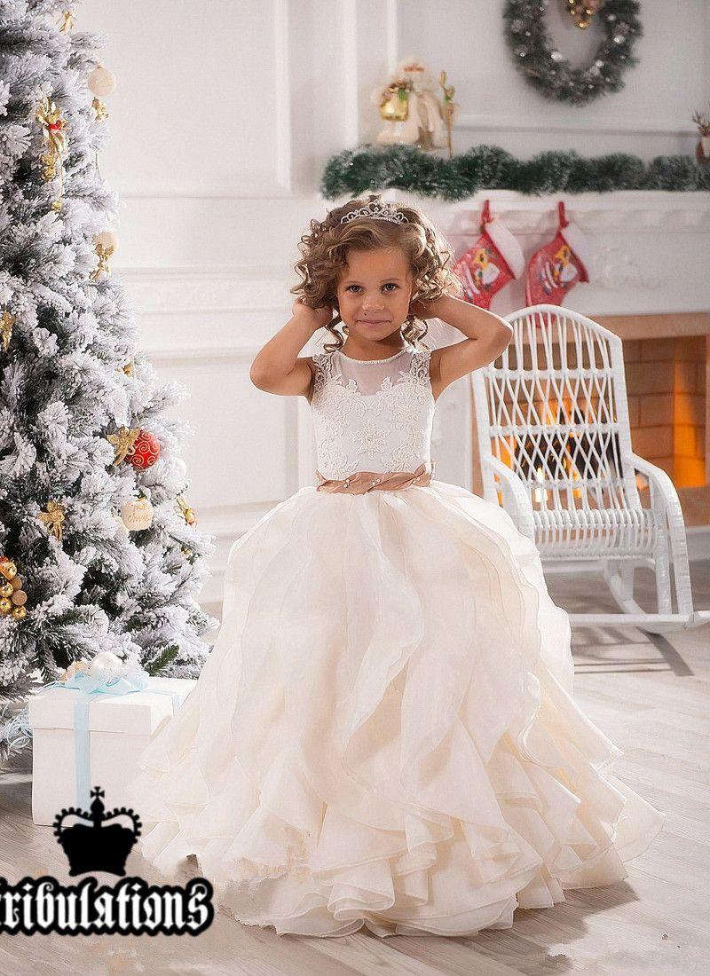 Vestidos menina da festa de casamento New Bonita Mint Ivory Lace Tulle Flor feriado do aniversário da dama de honra Fantasia Comunhão Vestidos para meninas