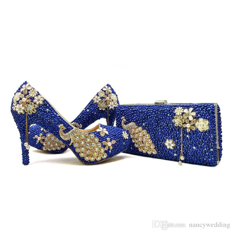 f6101651a2a3 2017 Royal Blue Pearl Bridal Shoes With Matching Bag Gorgeous Design  Peacock Style Rhinestone Wedding Party Shoes With Clutch Ivory Bridal Shoes  Low Heel ...