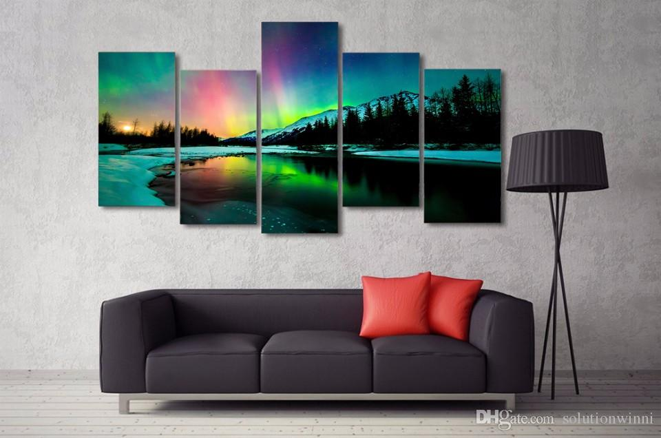 5 Panel HD Printed Snow Mountain Polar landscape Painting on canvas room decoration print poster picture canvas /NY-6320