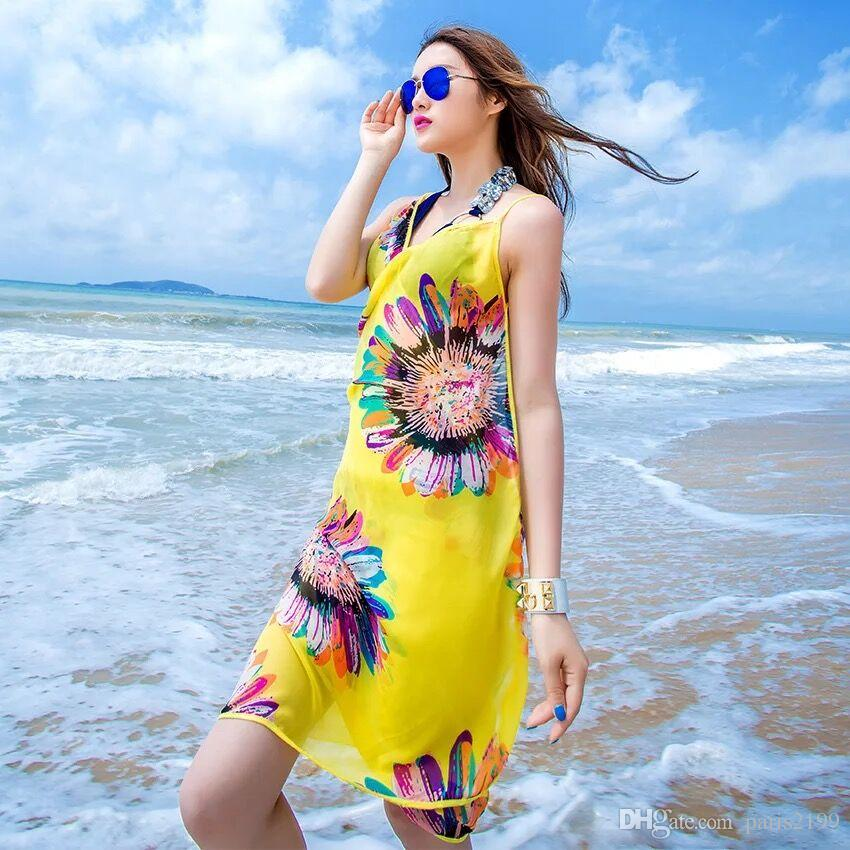2017 nuove donne Floral Bikini Cover stampa sexy Pareo Beach Dress Bohemian Sarong Chiffon Beach Bikini Wrap Swimwear sciarpa scialle Brace