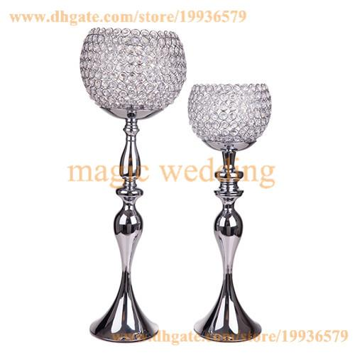 """METEL GLOBE CANDLE HOLDERS STAND """"KATRINA"""" CRYSTAL GOBLET 29"""" TALL SILVER WITH CRYSTALS BEAD FOR HOME DECOR"""