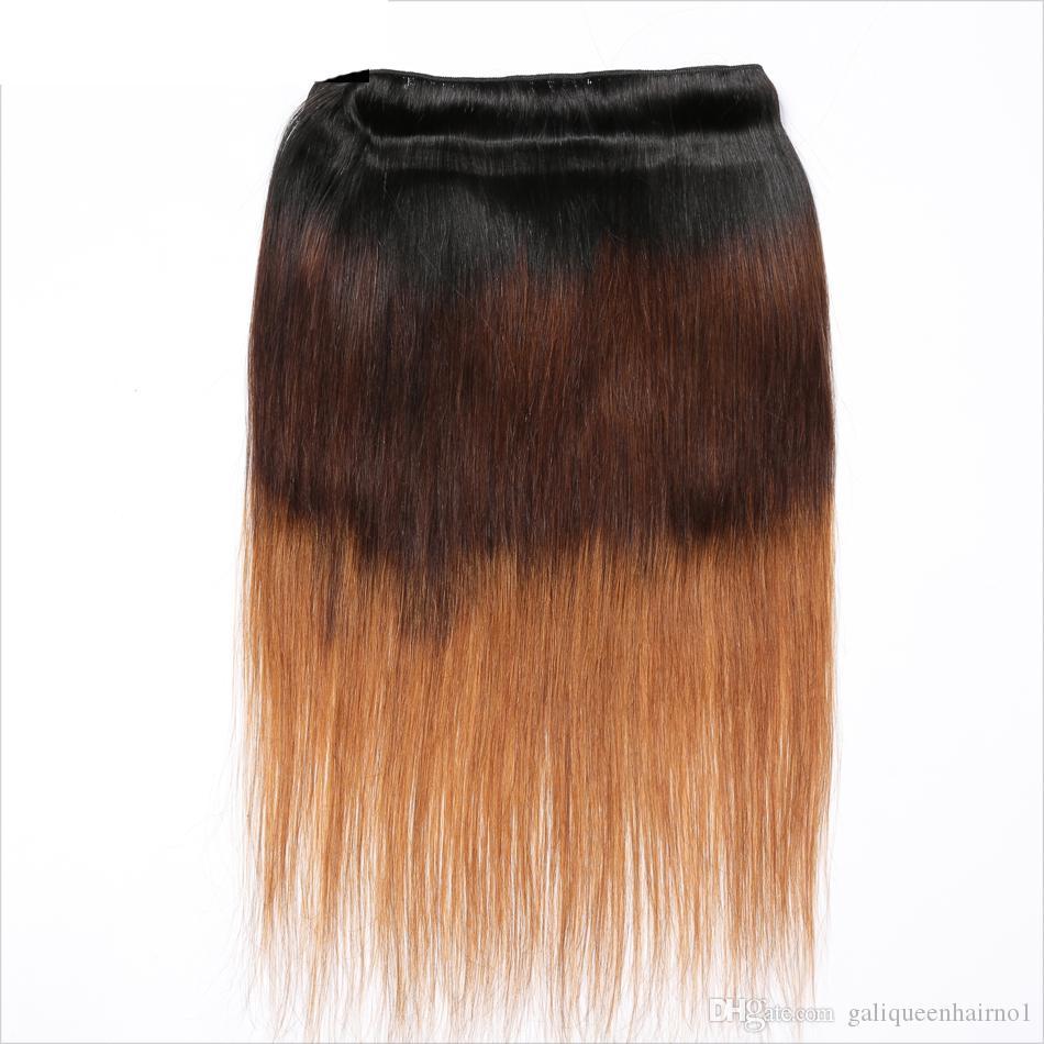 페루 스트레이트 인간의 머리카락 레미 머리카락 옹 브르 3 톤 1 / 4 / 30 컬러 더블 위사 100g / pc 염색 수 있습니다
