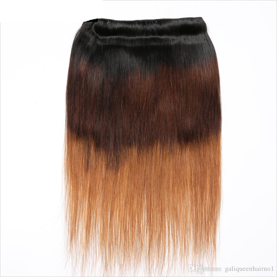 Peruvian Straight Human Hair Remy Hair Weaves Ombre 3 Tones 1B/4/Double Wefts 100g/pc Can Be Dyed Bleached