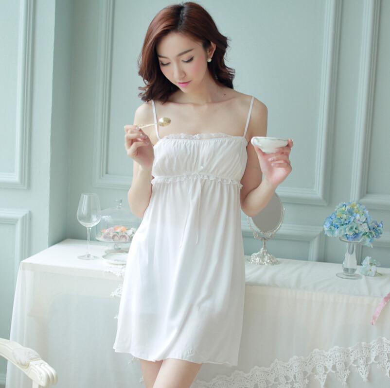 2018 Wholesale New Ladies Nightgown Cotton Night Dress Spaghetti ...