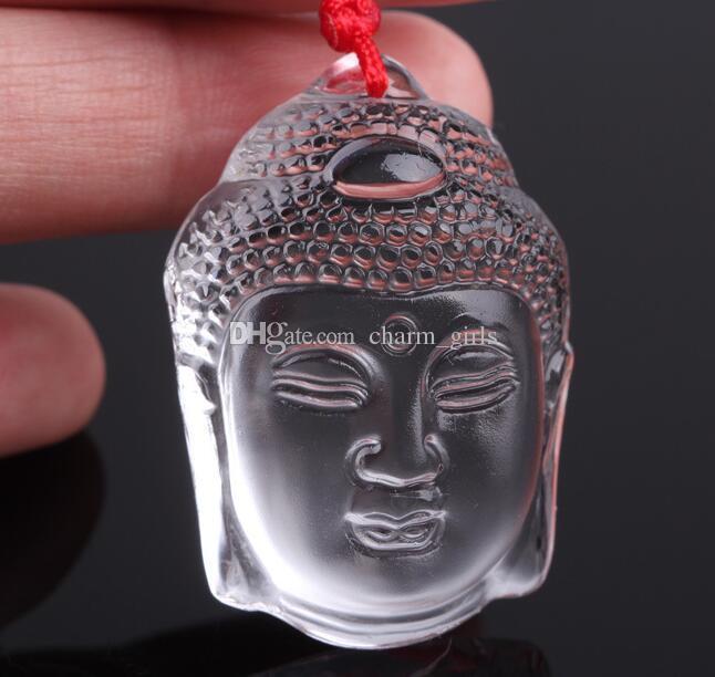 2017 heiße verkäufe Delicate Carved echten natürlichen weißen kristall Buddha kopf anhänger + Kostenlose halskette 20 teile / los