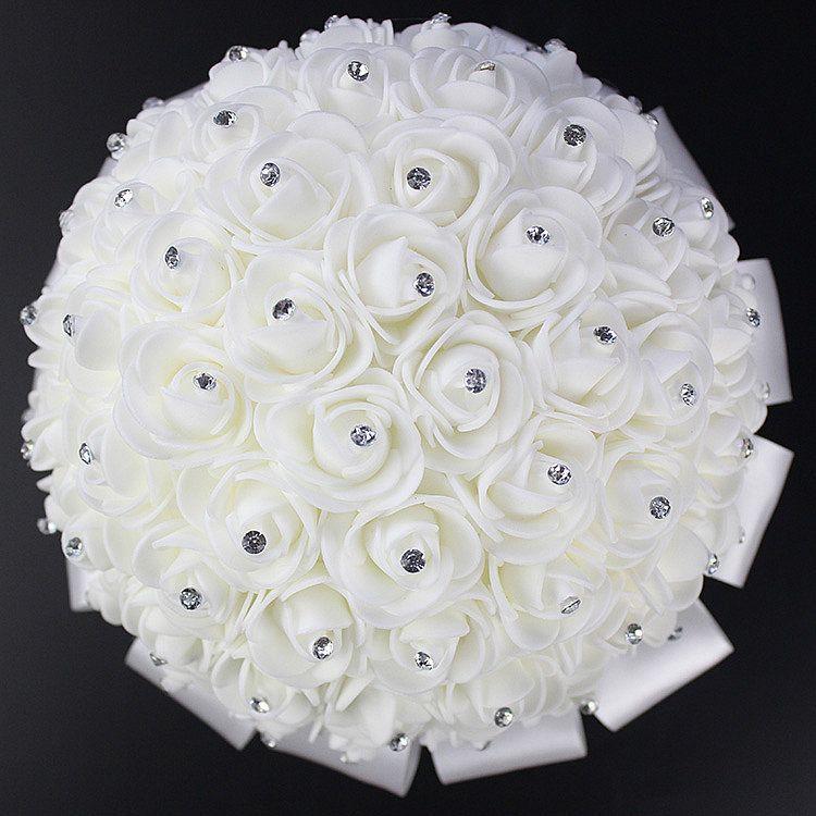 2017 Hot Sales Rose Artificial Bridal Flowers Bride Bouquet Wedding Bouquet Crystal Ivory Silk Ribbon New Buque De Noiva Cheap CPA818