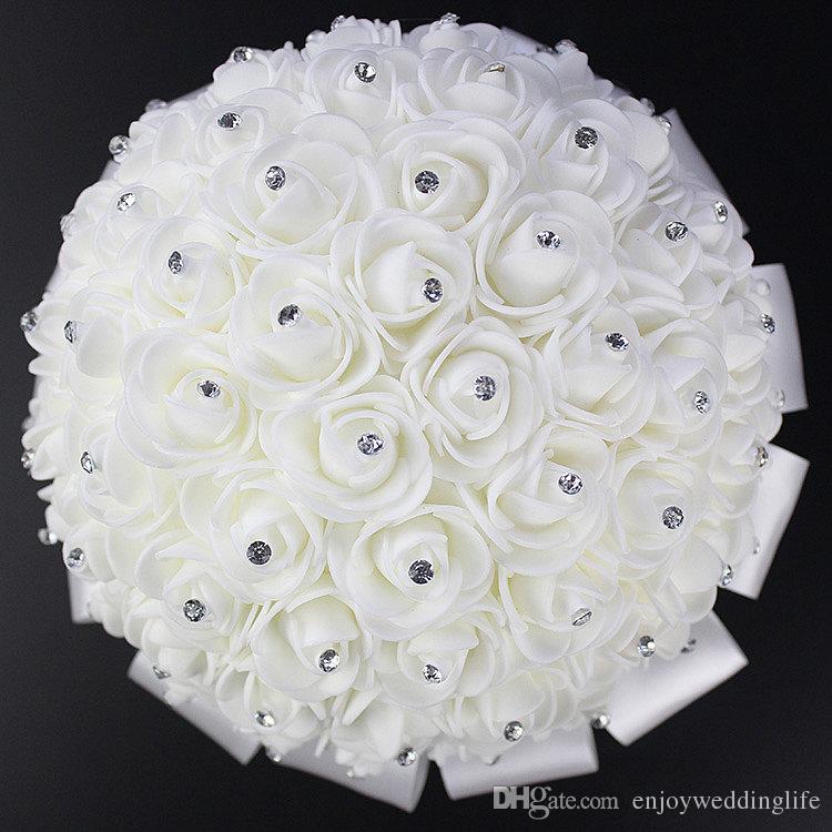 2017 Ventas Calientes Rose Flores de Novia Artificiales Ramo de Novia Ramo de Novia de Cristal Cinta de Seda de Marfil Nuevo Buque De Noiva CPA818 Barato