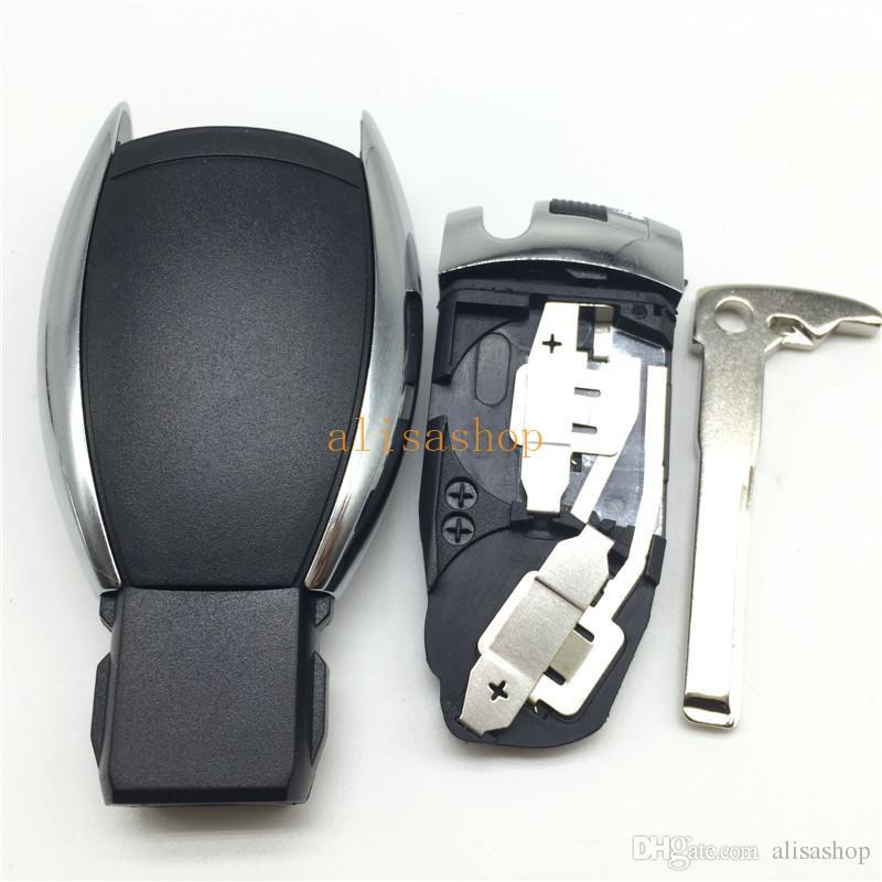 Reemplazos de la cubierta de la llave del coche 3 + 1 botones de la caja de la llave del control remoto con hoja para Mercedes Benz con logotipo estilo EE. UU.