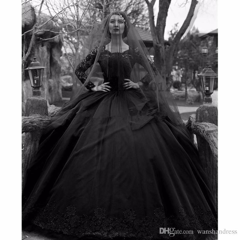 2018 새로운 볼 가운 블랙 고딕 웨딩 드레스 화이트 보석 긴 소매 레이스 웨딩 드레스 사용자 정의 만든 플러스 크기 신부 가운