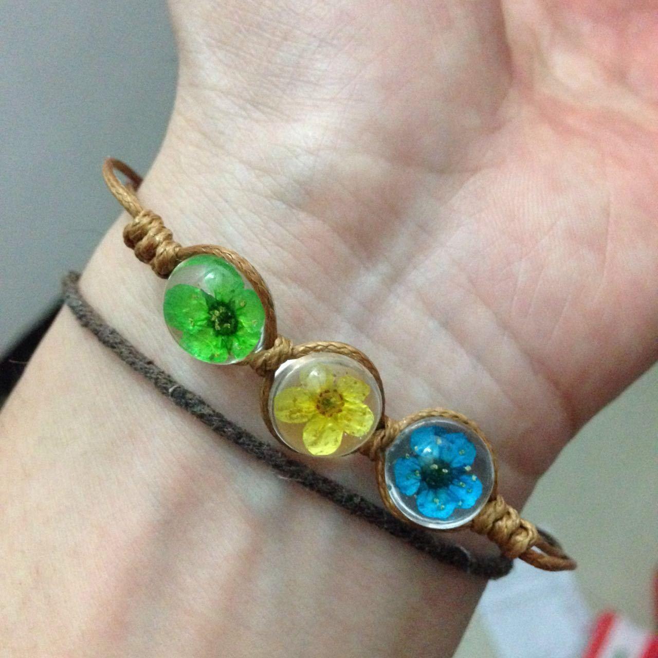 12 mix styleHandmade Crystal Dried Flowers Bracelets Plant Specimens Chains Creative Charm Bracelets