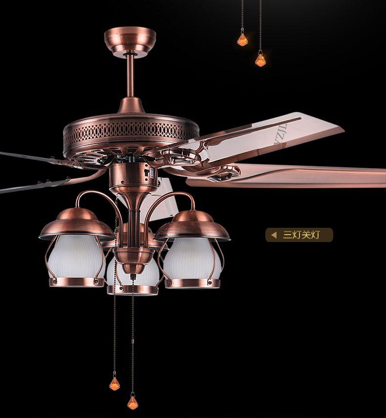 American rustic living room ceiling chandelier fan lights restaurant European antique Fan light vintage fan With LED lights