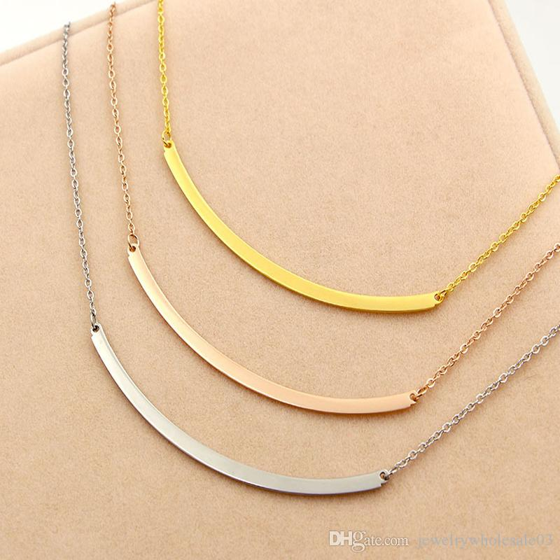 Wholesale Korean U Fashion Necklace Light Curved Titanium Rose Gold