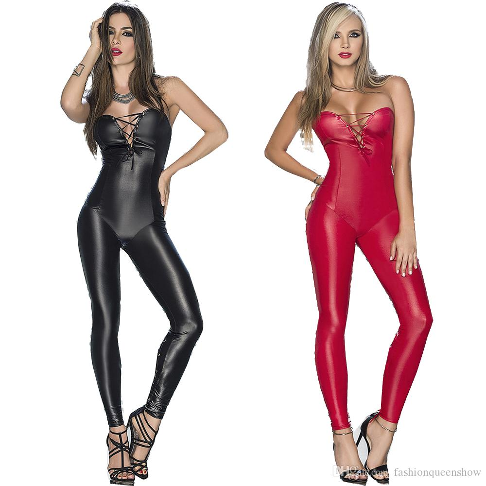 4116b8b86b 2019 Black Red Strapless Jumpsuit Lace Up Legs Catsuit Catwoman Costume  Sexy Women Bodysuit Punk Gothic Romper From Fashionqueenshow