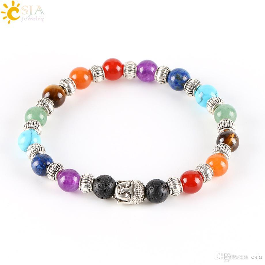 CSJA 7 Chakra Tibetan Silver Plated Bracelet for Women Black Lava Jade Beads Reiki Buddha Prayer Natural Stone Yoga Jewelry E282