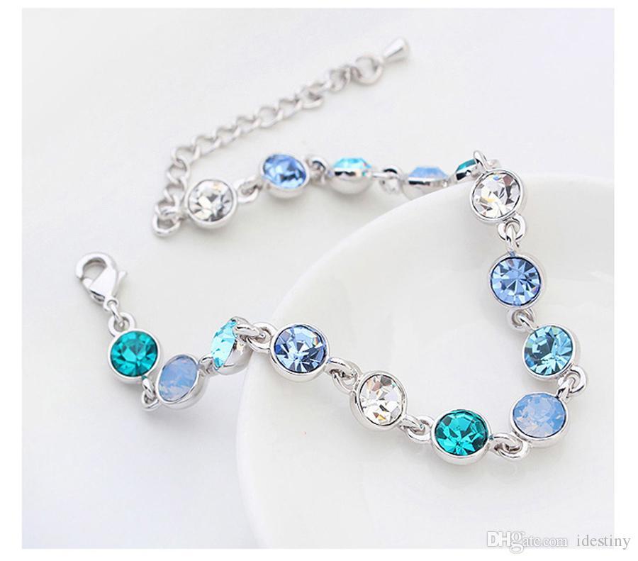 Moda-olmalıdır 3 renkler çok kristal bilezik kadın hediye için Swarovski gelen Avusturyalı kristaller ile yapılan yeni tasarım