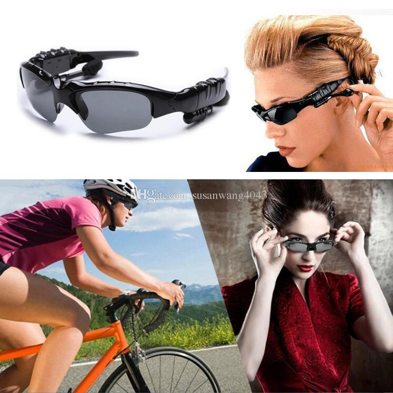 524a59b8d8b6 Wireless Bluetooth 4.1 Headset Smart Glasses Sports Stereo Earphone  Handsfree Driving Sunglasses Mp3 Riding Eyes Glasses DHL Free USZ086 Mobile  Headset The ...