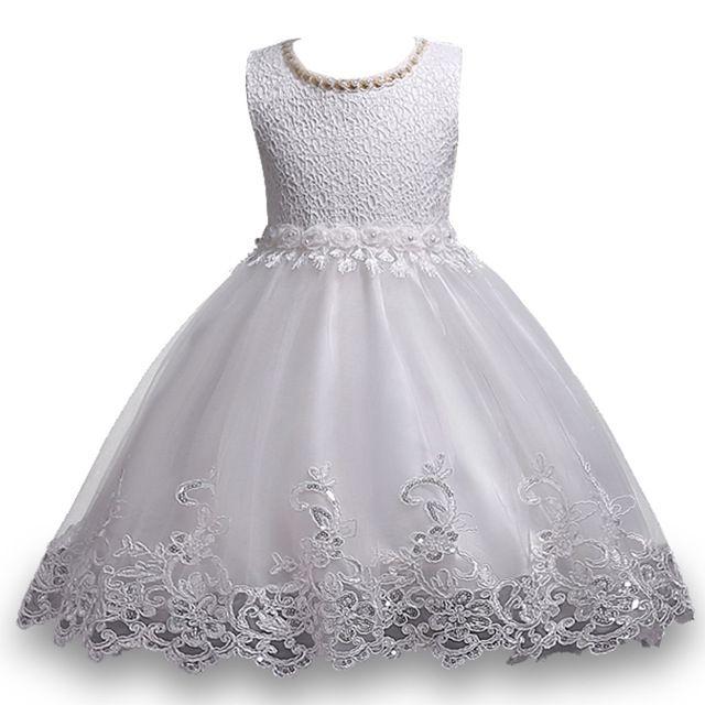 8ae71bbe1a Compre Crianças Meninas Vestidos De Renda Vestido De Lantejoulas Menina Do  Bebê 3 10 Anos Infantil Princesa Flor Vestido De Noiva Para A Festa De ...