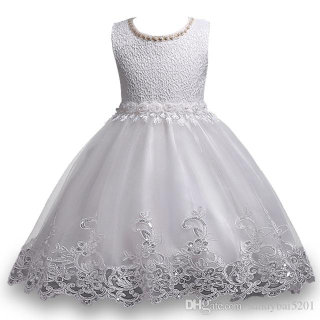 7a0967f36ec30 2019 Kids Girls Lace Dresses Baby Girl Sequin Dress 3 10 Years Infant  Princess Flower Wedding Dress For Birthday Party 2017 Pattern Girl Clothing  From ...