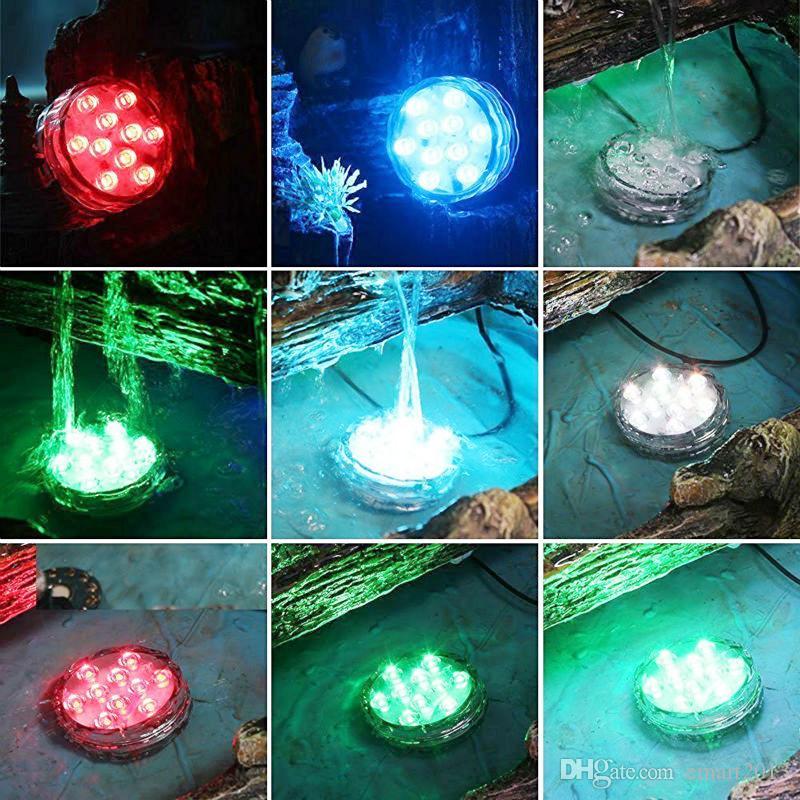 Base sumergible de luz de vaso florero Accionado por batería impermeable LED Fishbowl luces de tanque con control remoto para decoraciones de banquetes de boda
