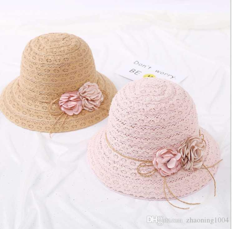 01e29ab3349 Designer Wide Brimmed Straw Beach Flower Bucket Hats For Adult Women ...