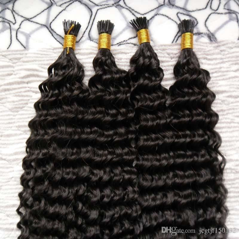 Extensiones de cabello pre unidas de color natural 200g extensiones de cabello de queratina 200s cabello de ondulación profunda brasileño inclino extensiones