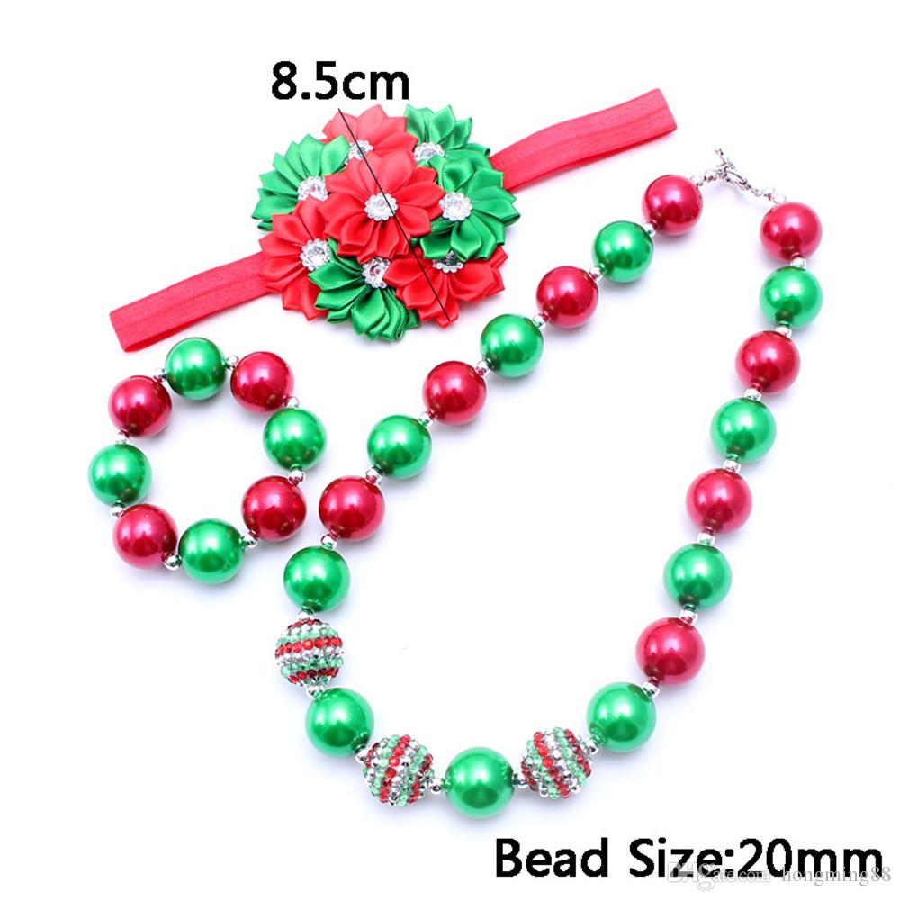 Christmas Design Necklace&Bracelet Headband Baby Kids Bubblegum Chunky Necklace Set Party Gift For Toddlers Girls Jewelry Set
