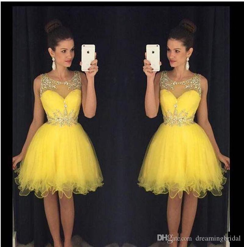 Homecoming Kleider Crystal Peplum Short 8. Klasse Prom Kleider Sleeveless Organza Cocktailkleid für formale Kleider nach Maß