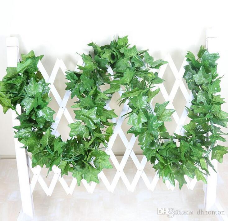 90 yapraklar 2.4 m yapay yeşil üzüm yaprakları diğer Boston sarmaşık sarmaşıklar dekore sahte çiçek kamışı toptan ücretsiz kargo HH08