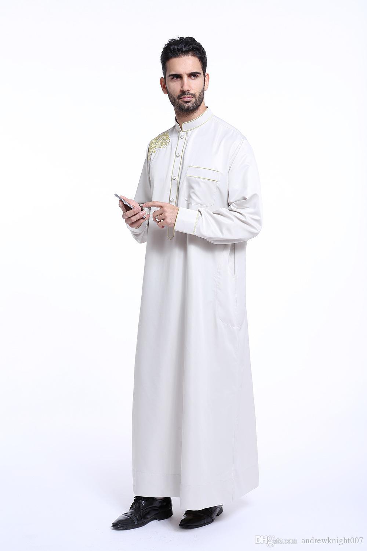 Мужчины с длинным рукавом мусульманский халат стенд воротник арабский Исламский абайя платье Индийский мужской кафтан халат DK721MZ