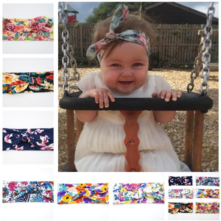 Mix Baby Headbands New Style Print Knitted Bow Headband Baby Girls Infant Headbands  Baby Turban Cotton Jersey Blend Headband TD172 Purple Hair Accessories ... 96f90413712
