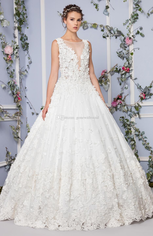 3d Floral Applique Embroidery Princess Wedding Dresses 2017 Tony ...