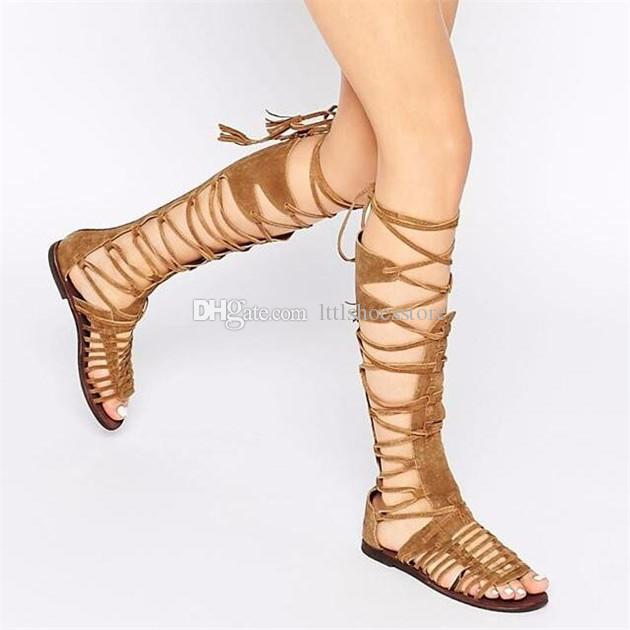 LTTL Boho Bohemian Style Newest Fashion Summer Boots Cross-Tie Fringe Flat Heel Gladiator Sandals Women Knee High Woman Shoes Real Leather