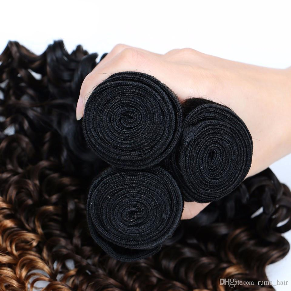 1B 4 27 Honey Blonde Ombre Brazilian Human Hair Weaves With Lace Closure Deep Curly Wave Three Tone 3Bundles With Closure