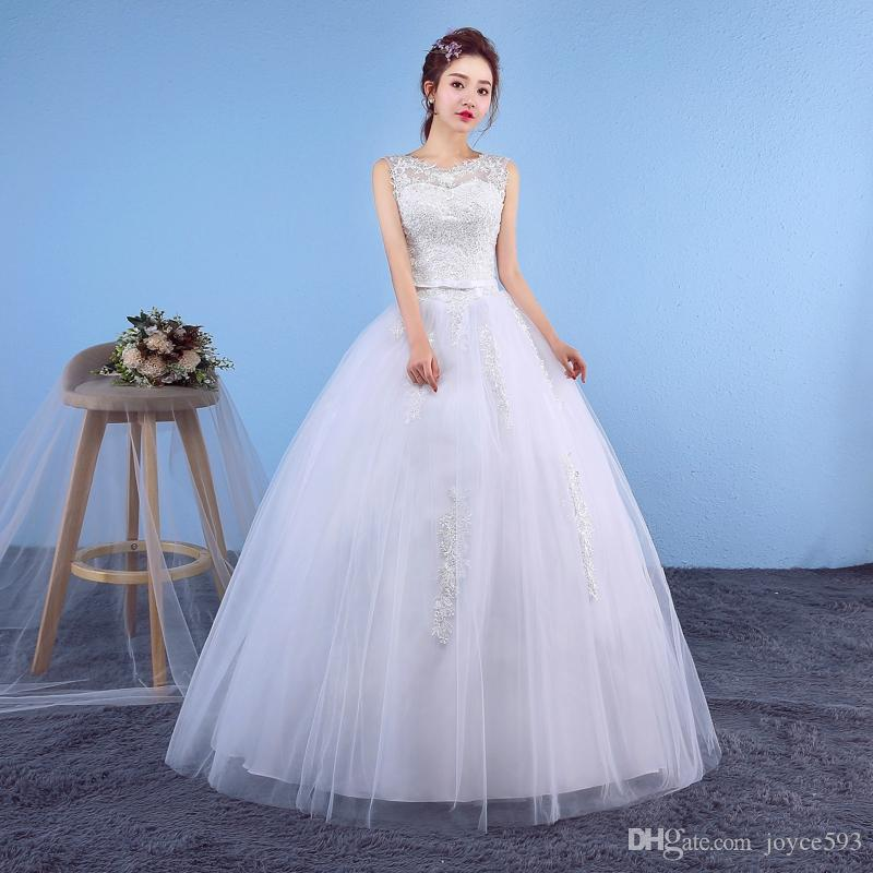0e5951001eb Wedding Dress 2017 The Bride Sweet O-neck Luxury Embroidery Floor-length  Lace Up Ball Gown Vintage Wedding Dresses F Lace Embroidery Sleeveless  Wedding ...