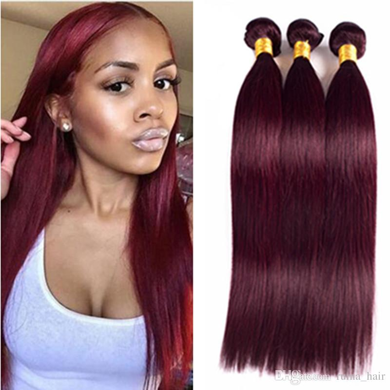 2018 Brazilian Straight Hair Burgundy Brazilian Hair Weave Bundles
