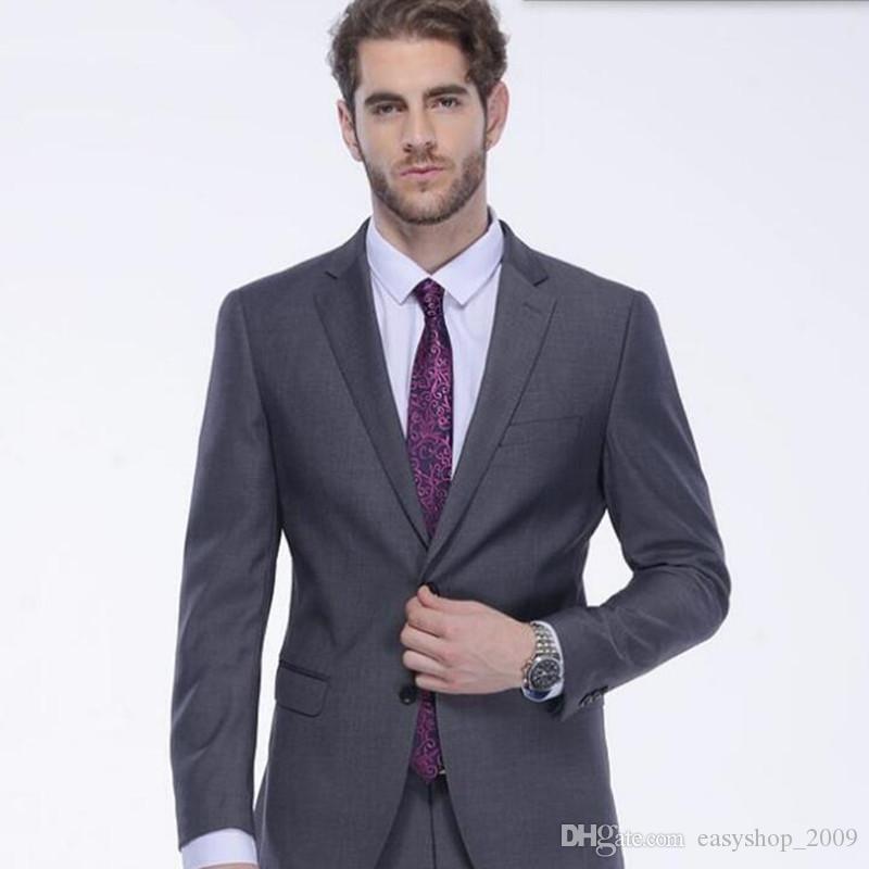 Custom Made Dark Grey Trajes de hombre Slim fit Trajes de boda Trajes de fiesta de novio de novio a medida Chaqueta + Pantalones