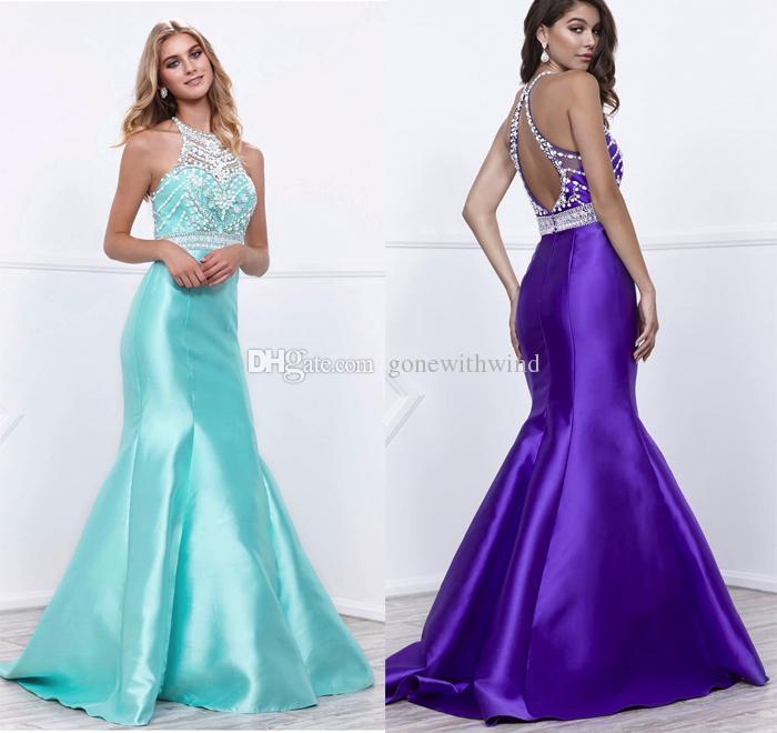 Embellished Bodice Mermaid Long Prom Dresses 2017 Hem Sleeveless ...