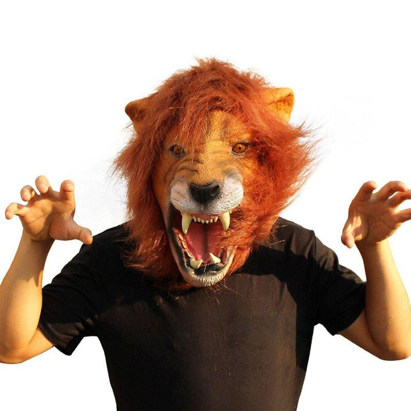 wholesale halloween props adult angry lion head masks animal full celebrity party fancy classic cosplay latex lion mask masquerade mens mask masquerade mens