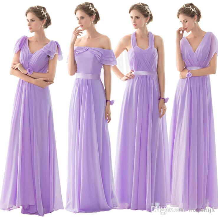 Weraimjx 2017 Purple Bridesmaid Dress Simple Designs Long Chiffon ...