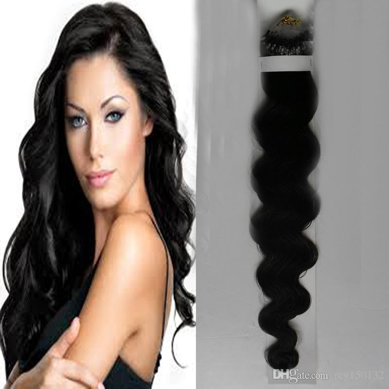 Unprocessed virgin brazilian body wave hair Micro Loop Hair Extension #1 Jet Black 100g/pc Non-Remy Human Hair