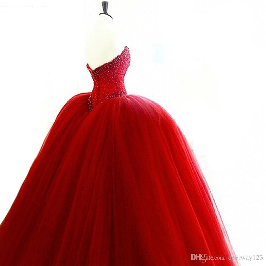 Опухшее Quinceanera платье 2019 Милая Top Бисероплетение Сладких 16 бальных платья Красного платье Quinceanera 15 лет День рождения партии мантий