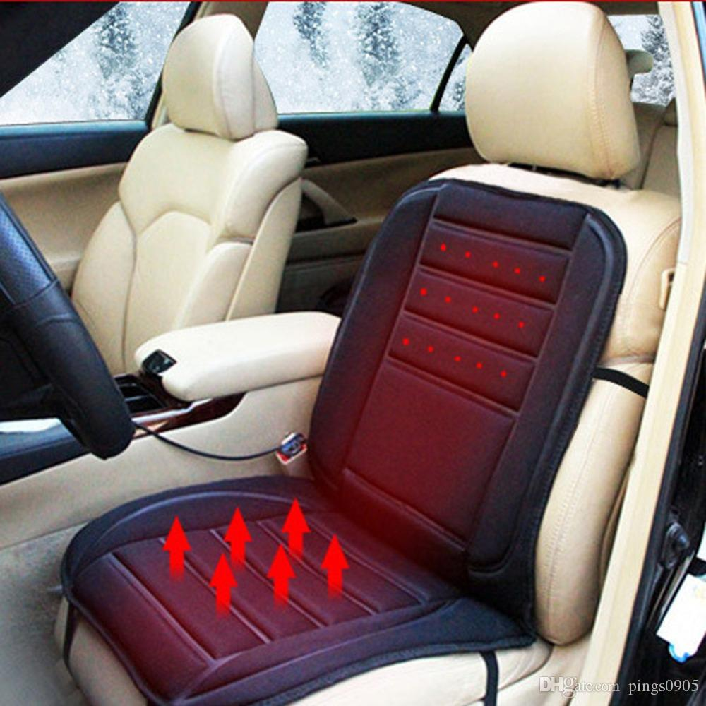 Black Car Heated Seat Cushion Cover Auto 12V Heating Heater Warmer Pad Winter Temperature Control Leather